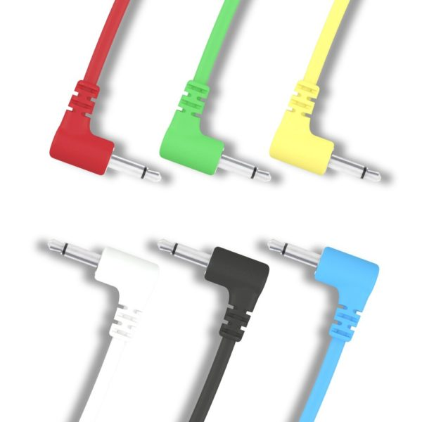 """Right Angle Mono Modular Cables - TS 3.5mm 1/8"""" - 6 Pack"""