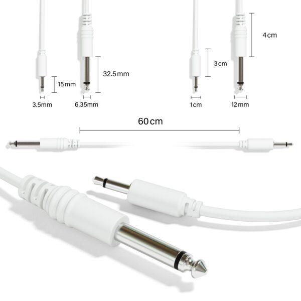 """1-Pack - Câbles Mono Patch - TS 3,5mm 1/8"""" à 6,35mm 1/4"""" Eurorack Synth CV Porte [Blanc]"""