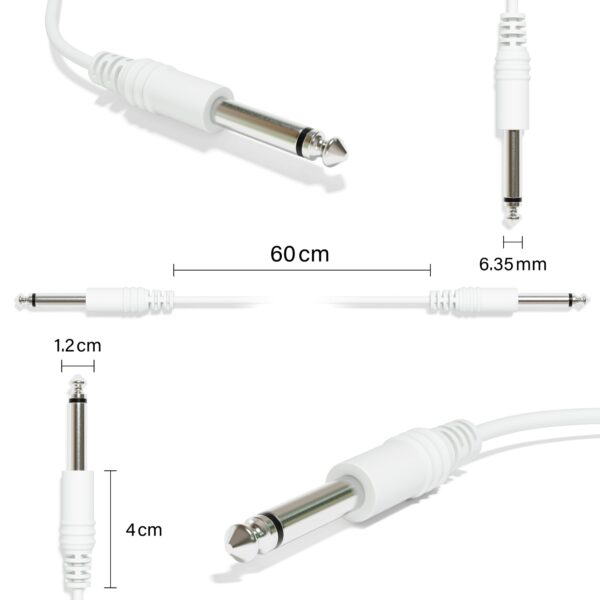 """1-Pack - Mono Instrument Gitaar Kabel - Patch Draad TS 6,35mm 1/4"""" [Wit]"""