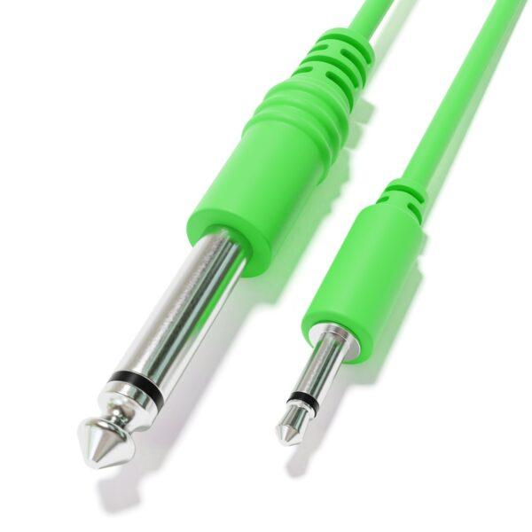 """1-Pack - Câbles Mono Patch - TS 3,5mm 1/8"""" à 6,35mm 1/4"""" Eurorack Synth CV Porte [Vert]"""