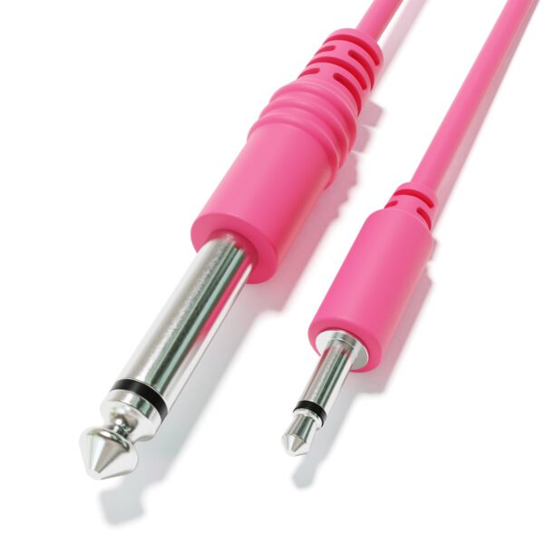 """1-Pack - Câbles Mono Patch - TS 3,5mm 1/8"""" à 6,35mm 1/4"""" Eurorack Synth CV Porte [Rose]"""
