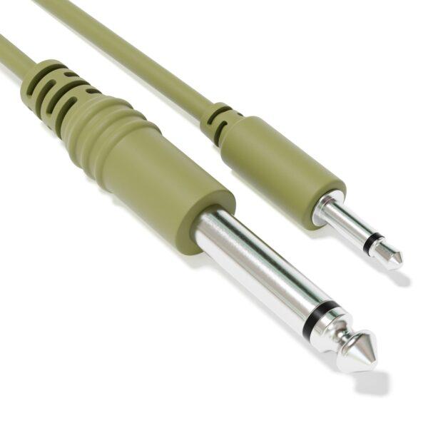 """1-Pack - Câbles Mono Patch - TS 3,5mm 1/8"""" à 6,35mm 1/4"""" Eurorack Synth CV Porte [Vert Armée]"""
