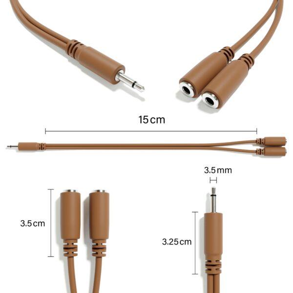 """5-Pack - Cavi Patch Mono Diviso - TS 3,5mm 1/8"""" Eurorack Synth Sintetizzatore [Marrone]"""