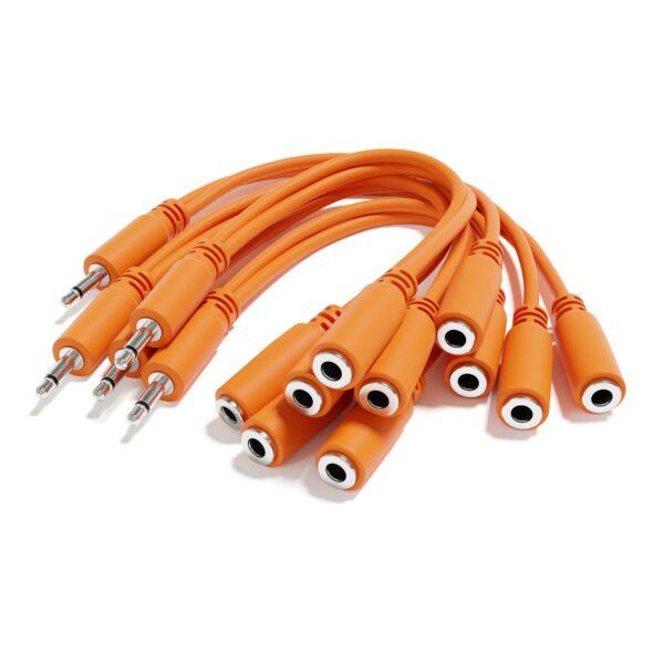 """5-Pack - Cavi Patch Mono Diviso - TS 3,5mm 1/8"""" Eurorack Synth Sintetizzatore [Arancione]"""